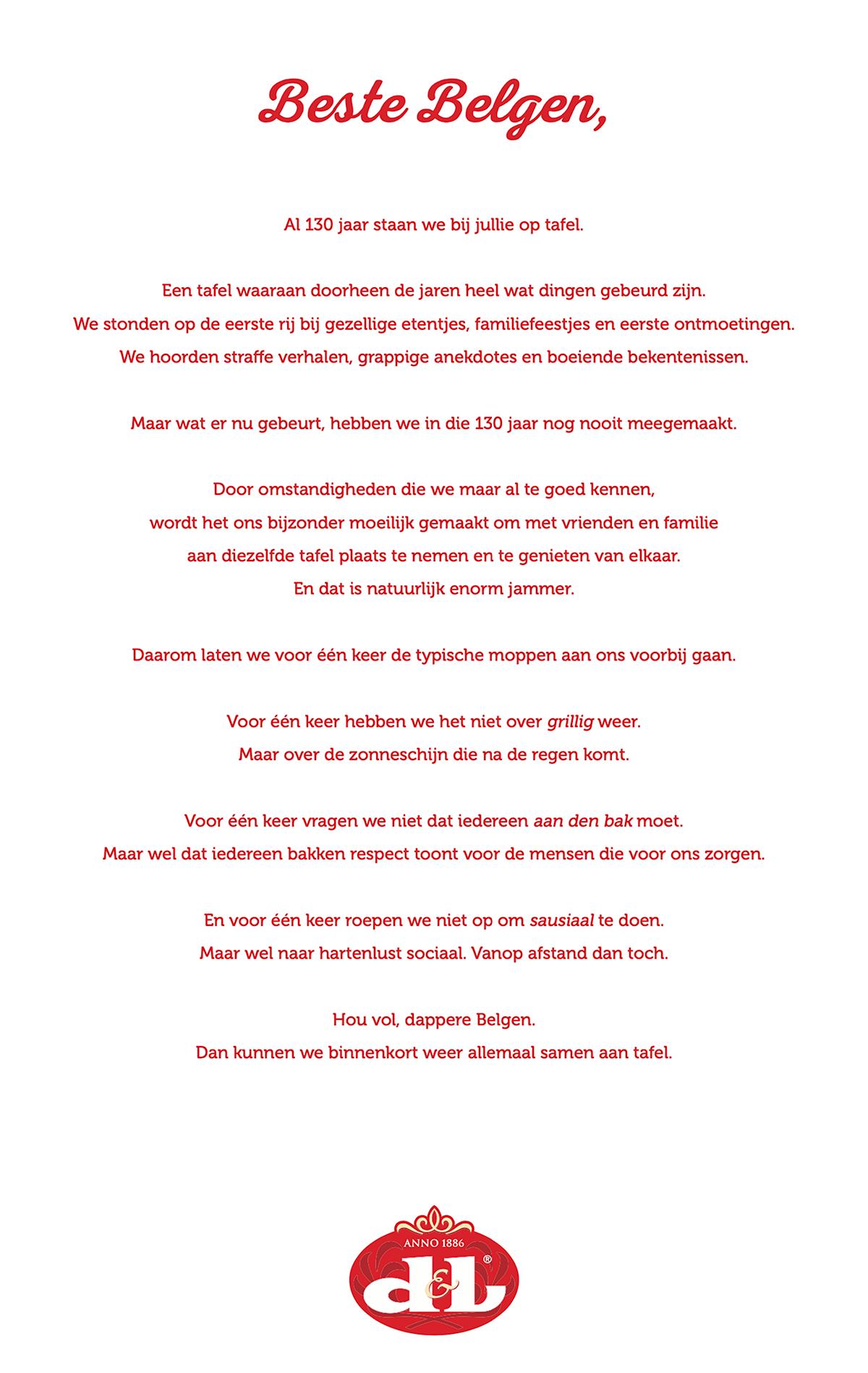 Devos Lemmens schrijft brief aan alle Belgen